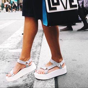 767ba87a685 Teva Shoes - Teva Flatform Universal Silver Platform Sandals